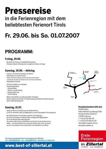 Eine Pressereise in die Ferienregion mit dem beliebtesten Ferienort Tirols vom 29. Juni bis 1. Juli 2007