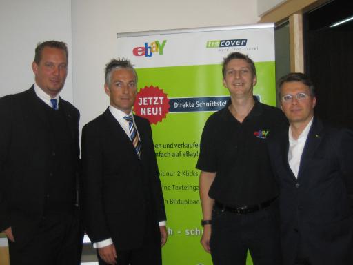 Bild von links nach rechts: Thomas Mandl ( Director Tiscover.com Portal),Thomas Reisenzahn (ÖHV), Rainer Leeb (Ebay Österreich), Konrad Plankensteiner ( Vorstand Tiscover )