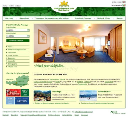 Neu, frisch und doch mit bewährten Qualitäten: Die Website www.europaeischerhof.at zeigt sich nach einem optischen Facelift bereit für die neue Saison.