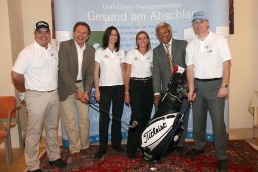 v.l.n.r.: Artur Frank (PGA Lehrteam), Ernst Tscherteu, Andrea Münzer, Dr. Karin Aul, Paul Schrey, Lutz Gerhards (Golf Clinic D)