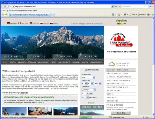 Die neue, attraktive Einstiegsseite des TVB Hochpustertal in Südtirol, das Tor zur Welt.