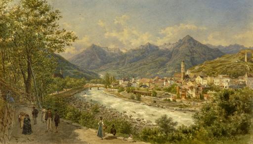"""Franz Alt (1821-1914) Architektur-, Veduten- und Landschaftsmaler """"Meran"""" - Aquarell auf starkem Papier"""