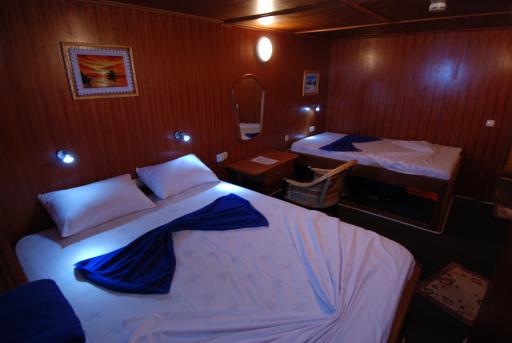 Großzügige Kabinen mit breiten Betten und Dusche/WC, Klimaanlage, einer bordeigenen Entsalzungsanlage und zwei Whirlpools an Denk garantieren bei den Abenteuersafaris auf der Nautilus Two den gewohnten Komfort.