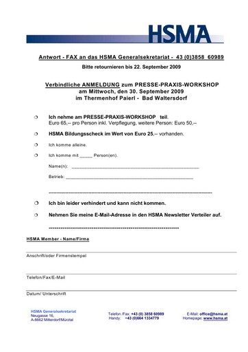 """HSMA lädt zum Workshop """"Professionelle PR im Tourismus"""" am 30. September 2009"""