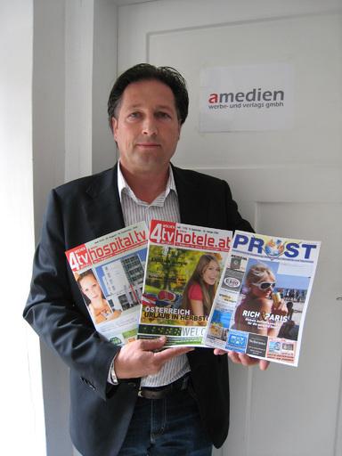 Der neue GF Harald Mistlberger (amedien) sorgt für eine reibungslose Weiterführung der Magazine: Hotele, Hospital und Prost.