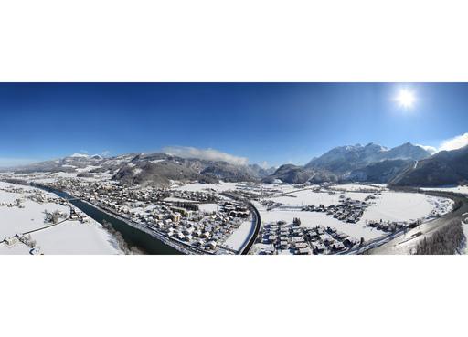 Luftpanorama von Golling; Aufnahme des Fotos: Winter 2009