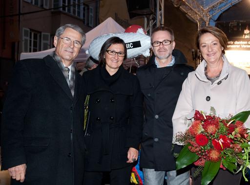 Vizebürgermeisterin DI Sprenger, Geschäftsführerin Mag. Sigrid Resch (Stadtmarketing), Christoph Norz (Straßensprecher Maria-Theresien-Straße), Stadträtin Dr. Marie-Luise Pokorny-Reitter