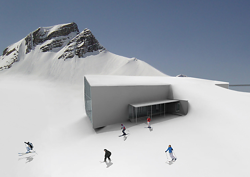 Schon hängen die 8-er Gondeln am Seil der neuen, auch architektonisch sehenswerten Gipfelbahn von Mellau nach Damüls. Das größte Skigebiet im Bregenzerwald geht demnächst in Betrieb.