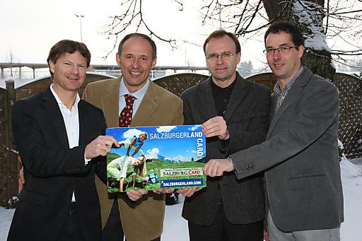 Präsentierten die neue Card-Technologie v.l.n.r.: CEO Markus Schröcksnadel (feratel), GF Leo Bauernberger (SLT), GF Bert Brugger (TSG), Prok. Thomas Angerer (feratel).
