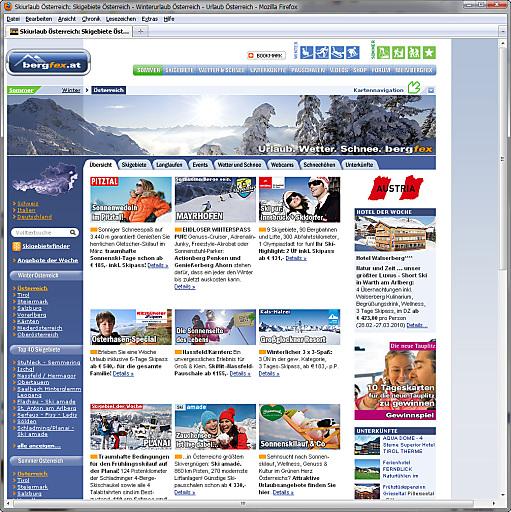 Die touristische Internetplattform bergfex.at (.de/.ch/.it/.com) bietet zur Planung des Winterurlaubes detaillierte Informationen u.a. zu Skigebieten, Unterkünften, Wetter, Schneehöhen und Veranstaltungen.