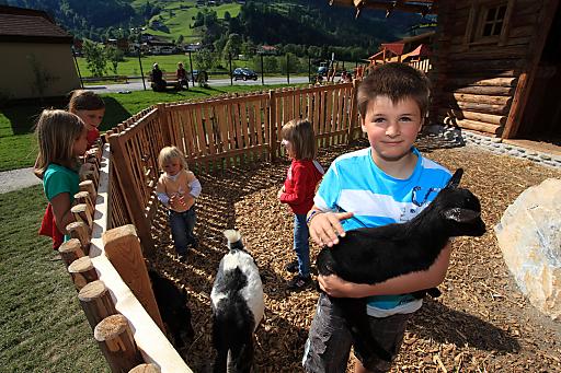 """Abenteuerspielplatz """"Gaudi-Alm"""" in Großarl, Streicheltiere bei der """"Goaß-Alm"""", www.gaudi-alm.at."""