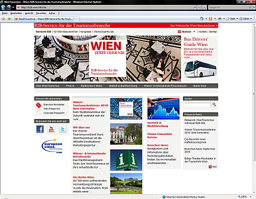 Modernes Design, optimierte Navigation, zusätzliche Kapitel und jede Menge Bilder und Videos - so präsentiert sich die neue B2B-Site des WienTourismus auf http://www.b2b.wien.info.