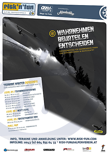 risk'n'fun, das Ausbildungsprogramm der Alpenvereinsjugend, bietet auch im kommenden Winter mit 11 Tourstopps allen Snowboardern und Skifahrern eine fundierte Ausbildung fürs Backcountry.