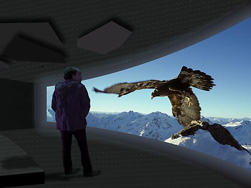 Illustration des neuen Cinema 3000 auf dem Gipfel des Gletschers.