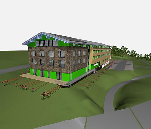 Das Modell des Explorer Hotels im Montafon.