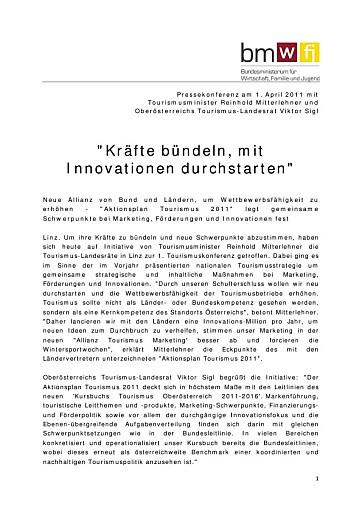 """Mitterlehner bei Tourismuskonferenz: """"Kräfte bündeln und neu durchstarten"""""""