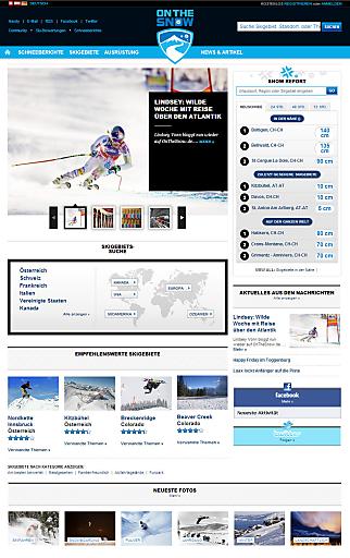 Die übersichtliche Startseite von OnTheSnow.de.