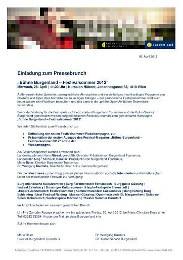"""Einladung zum Pressebrunch: """"Bühne Burgenland - Festivalsommer 2012"""""""