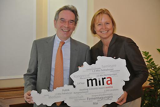 Christian Mutschlechner und Dr. Petra Stolba bei der Präsentation von mira 2011