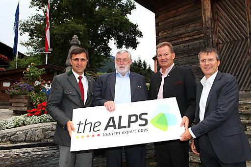 Präsentierten das Leitthema von theALPS 2012 in Alpbach (v.l.): Josef Margreiter, Franz Fischler, Harald Ultsch und Konrad Plankensteiner.