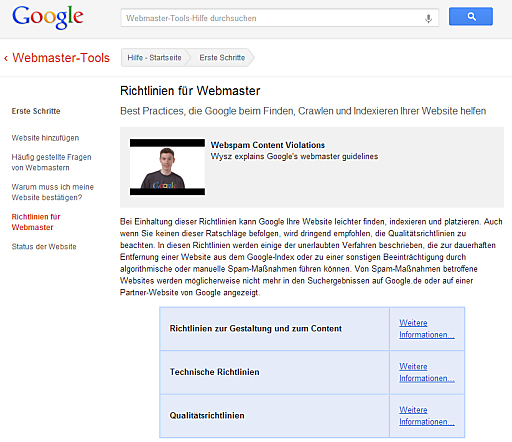 Google Webseite