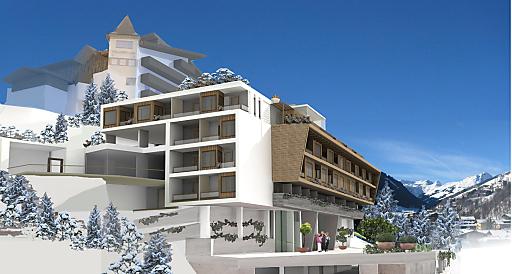 Das neue Hotel ALPIN JUWEL im Zentrum von Hinterglemm eröffnet am 12.12.12 als stylisches 4-Sterne Superior Hotel. Im Bild: Hotel-Vorabansicht Winter