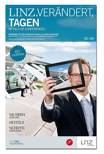 Das neue Handbuch LINZ.VERÄNDERT, TAGEN mit 60 Locations für Kongresse, Tagungen, Seminare und Events.