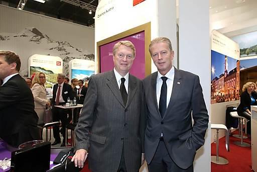 Casinos Austria Vorstand Dietmar Hoscher (li.) und Wirtschaftsminister Reinhold Mitterlehner bei der Internationalen Tourismusbörse Berlin (ITB): Starker Auftritt für die österreichische Tourismuswirtschaft.