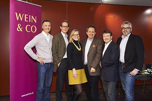 Bei Runde 4 von WineExperts diskutierten Hermann Botolen, Willi Bründlmayer, Dorli Muhr, Willi Balanjuk, Willi Klinger und Oliver Sartena (von li. n. re.)