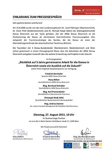 """Einladung zum Pressegespräch """"5 Jahre ARGE Donau Österreich"""""""