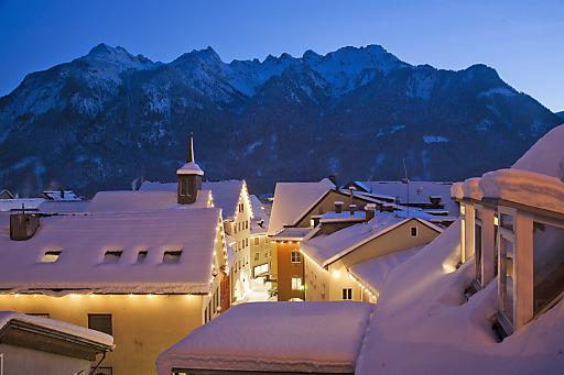 Winter, Schnee und berge.hören in der Alpenstadt Bludenz