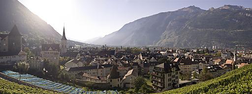 Blick über die Altstadt mir dem Hausberg Brambrüesch links und dem Calanda Massiv rechts