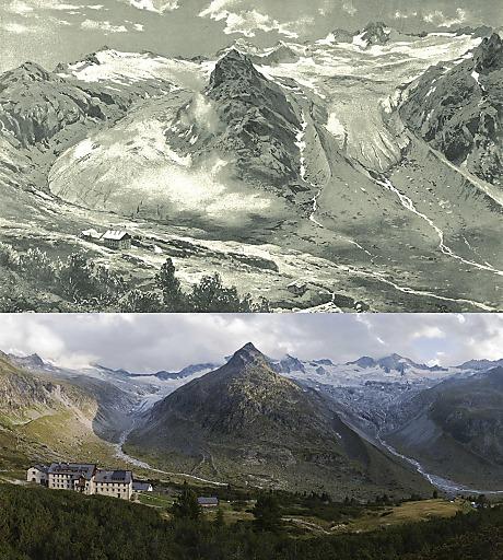 Das Hornkees und das Waxeggkees in den Zillertaler Alpen waren durch die 1879 eröffnete Berliner Hütte ein beliebtes Motiv - hier dargestellt durch Rummelspacher in der Zeitschrift des D.u.ÖAV 1894, sowie im Vergleich dazu eine Aufnahme aus dem Jahr 2013.