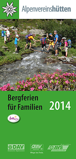 """Alpenvereinsfolder """"Bergferien für Familien 2014"""""""