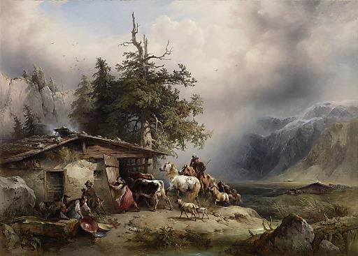 Friedrich Gauermann (1807-1862), Heimkehr vor dem Gewitter, 1845, Öl auf Leinwand, 90 x 122,5, Leopold Museum, Wien, Inv. 2081