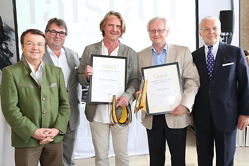 http://www.apa-fotoservice.at/galerie/5534 Im Bild vlnr: Mag. Wilhelm Klinger (Geschäftsführer Österreich Wein Marketing), Peter Moser (Falstaff-Chefredakteur), Gerhard Pittnauer (Winzer des Jahres), Adi Schmid (Weinpersönlichkeit des Jahres), Wolfgang Rosam (Falstaff-Herausgeber)
