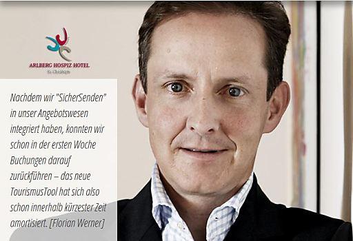 Florian Werner, Arlberg Hospiz Hotel, St.Christoph am Arlberg, verwendet bereits überzeugt SicherSenden der ncm.at