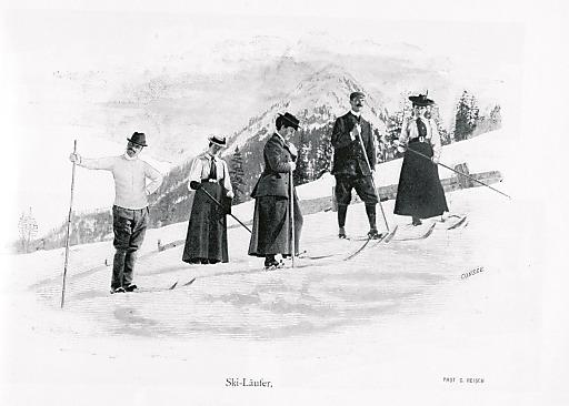 Skifahren. Pause um 1898.