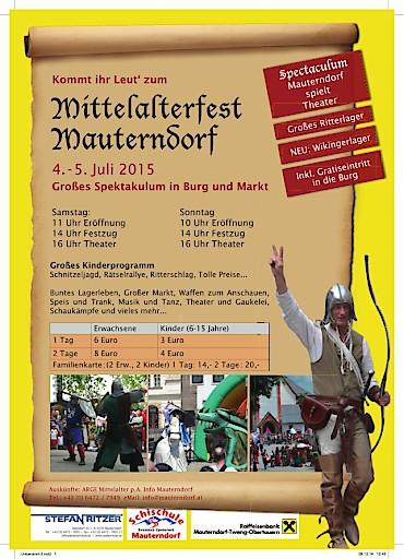16. Mittelalterfest in Mauterndorf in der Ferienregion Lungau am 4. und 5. Juli 2015