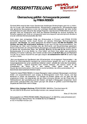 Überraschung gelüftet - Schneegarantie powered by PRIMA REISEN