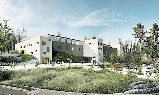 Futuristische Außenansicht des gesamten Planungsobjekts mit 10.500 m².