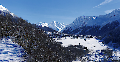 Landschaft Panorama Winter Klosters