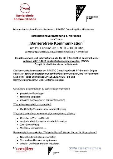"""Barrierefrei informieren? Warum? Und wie? b'kom-Seminarreihe """"Grundlagen barrierefreier Kommunikation"""""""