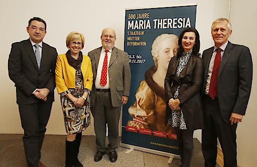 Podium Pressekonferenz v.l.n.r.: Werner Telesko, Elfriede Iby, Karl Vocelka, Monica Kurzel-Runtscheiner, Franz Sattlecker