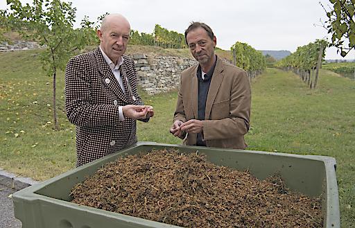 Dir. Franz Ehrenleitner (l.) und Gerhard Braun sind vom Potential des Traubentresters überzeugt.