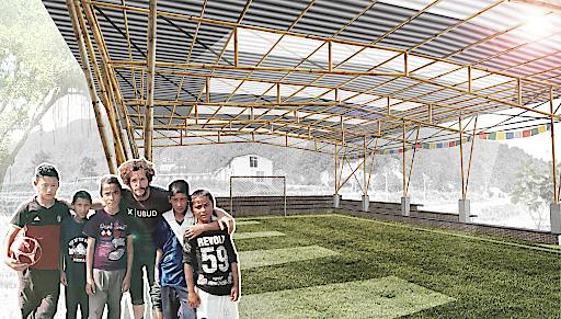 Johannes Würzlers Entwurf der multifunktionalen Bambus-Halle für die Kundalinee School. Für die Kosten von rund 50.000 Euro werden noch dringend Spenden benötigt.