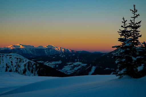 Gipfelstimmung auf der Riesneralm bei Sonnenuntergang