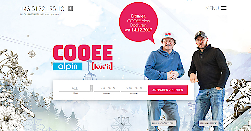 Die neues COOEE alpin Webseite mit dem ABM V5 Anfrage- & Buchungssystem von websLINE