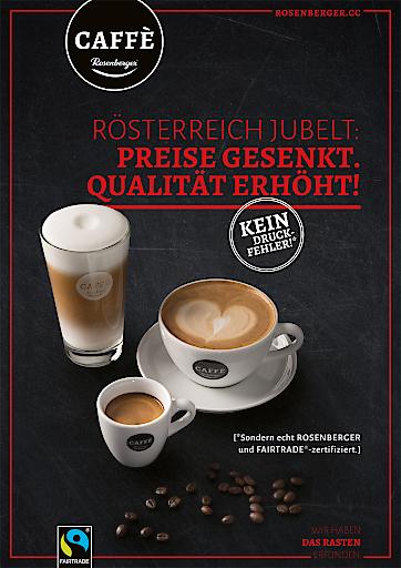 Rosenberger senkt österreichweit die Kaffeepreise und geht FAIRTRADE-Gastronomiepartnerschaft ein
