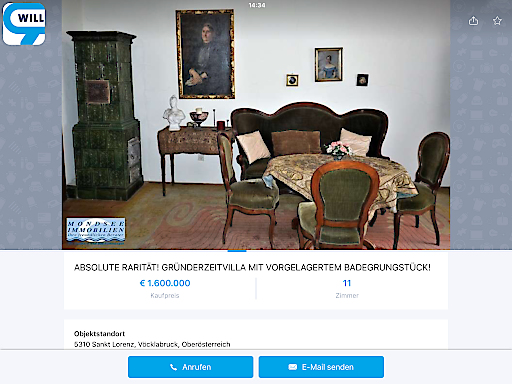 Ein Teil des Inventars der Gründerzeitvilla von Lilli Lehmann geht voraussichtlich an das Mozarteum.